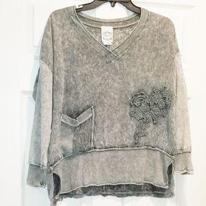 FLEUR DE LIS embroidered slub sweatshirt